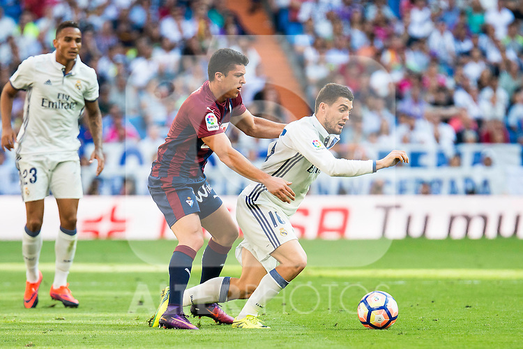 Real Madrid's player Mateo Kovacic and Eibar FC's player Ander Capa during a match of La Liga Santander at Santiago Bernabeu Stadium in Madrid. October 02, Spain. 2016. (ALTERPHOTOS/BorjaB.Hojas)