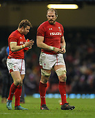 17th March 2018, Principality Stadium, Cardiff, Wales; NatWest Six Nations rugby, Wales versus France; Leigh Halfpenny of Wales and Alun Wyn Jones of Wales speak at the end of the game