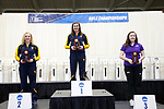 COLUMBUS, OH - MARCH 11: From left, Ginny Thrasher, of West Virginia University. Morgan Phillips of West Virginia University and Casey Lutz of Texas Christian University stand at the podium during the Division I Rifle Championships held at The French Field House on the Ohio State University campus on March 11, 2017 in Columbus, Ohio. (Photo by Jay LaPrete/NCAA Photos via Getty Images)