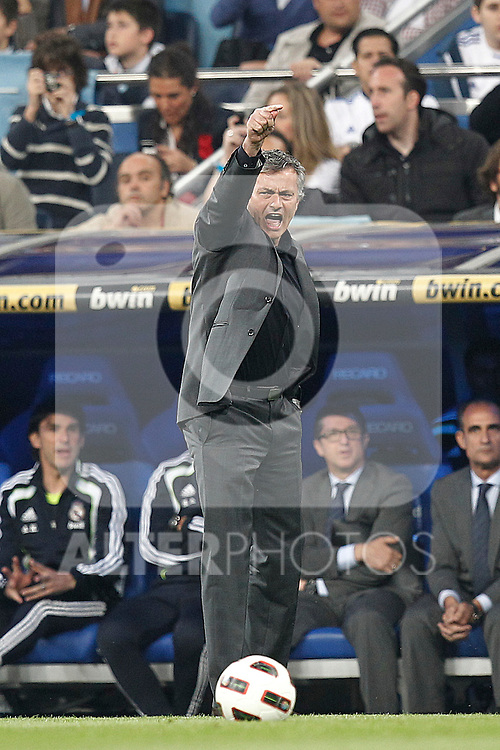 Real Madrid's Jose Mourino during la Liga match on April 16th 2011...Photo: Cesar Cebolla / ALFAQUI