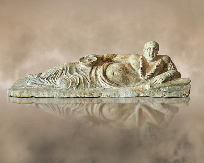 Etruscan Hellenistic style cinerary, funreary, urn cover with a man,  National Archaeological Museum Florence, Italy