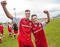 Stirling Albion goalscorers Jordan White and Sandy Cunningham celebrate after winning the League 1 Play Off Final to win promotion to League 1.