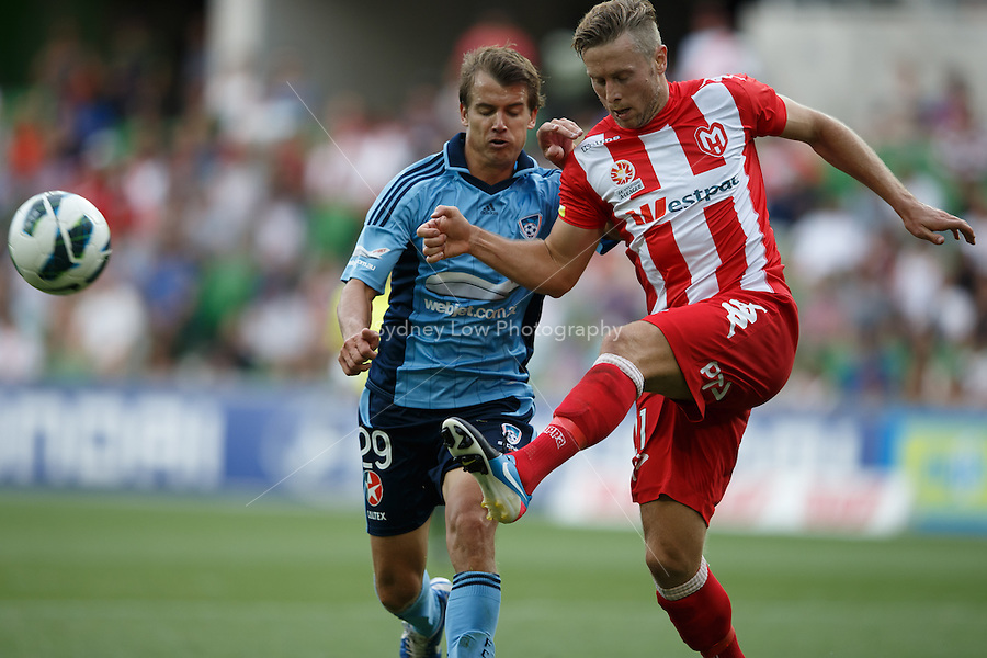 MELBOURNE - 24 FEB: Steven GRAY of the Heart and Joel GRIFFITHS of Sydney fight for the ball in the round 22 A-League match between Melbourne Heart and Sydney FC at AAMI Park on 22 February 2013. (Photo Sydney Low/syd-low.com/Melbourne Heart)