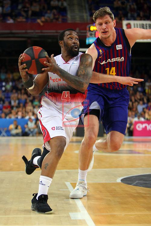 League ACB-ENDESA 201/2019.Game 38.<br /> PlayOff Semifinals.1st match.<br /> FC Barcelona Lassa vs Tecnyconta Zaragoza: 101-59.<br /> Bo McCalebb vs Artem Pustovyi.