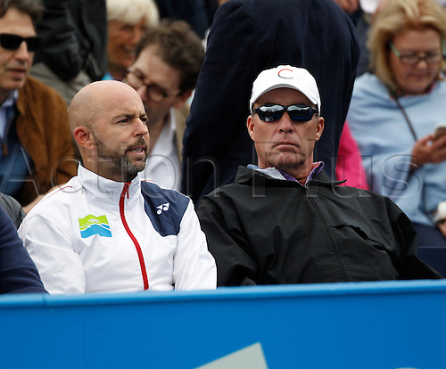 18.06.2016. Queens Club, London, England. Aegon Queens Tennis Championships Day Six. Ivan Lendl wiith fellow coach Jamie Delgado watch Andy Murray (GBR) in his semi final match against Marin Cilic (CRO).