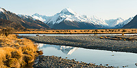 Aoraki Mount Cook, highest mountain of Southern Alps, 3,724m, Aoraki, Mount Cook National Park, UNESCO World Heritage Area, Mackenzie Country, South Island, New Zealand, NZ
