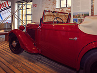 Adler Triumph Junior im Museum, Fagus Werk der Firmen GreCon, erbaut von Bauhaus-Architekt Walter Gropius 1911, Alfeld, Niedersachsen, Deutschland, Europa, UNESCO-Weltkulturerbe<br /> Adler Triumph Junior in Museum, Fagus Factory of GreCon Company built by Bauhaus archtect Walter Gropius 1911; Alfeld, Lower Saxony, Germany, Europe, UNESCO heritage site
