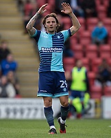 Sam Saunders of Wycombe Wanderers shows his frustration during the Sky Bet League 2 match between Leyton Orient and Wycombe Wanderers at the Matchroom Stadium, London, England on 1 April 2017. Photo by Andy Rowland.