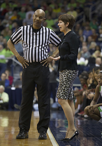 January 13, 2013:  Notre Dame head coach Muffet McGraw discusses call with referee during NCAA Basketball game action between the Notre Dame Fighting Irish and the Rutgers Scarlett Knights at Purcell Pavilion at the Joyce Center in South Bend, Indiana.  Notre Dame defeated Rutgers 71-46.
