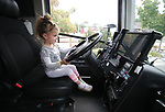 Samantha Mitchell, 3, checks out a JAC bus during the Touch-a-Truck event at the Carson City Library in Carson City, Nev., on Saturday, Aug. 5, 2017. <br /> Photo by Cathleen Allison/Nevada Photo Source