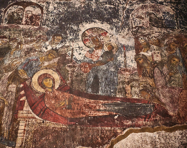 Picture & image of Vardzia medieval cave Church of the Dormition interior secco paintings of the Dormition of the Virgin, part of the cave city and monastery of Vardzia, Erusheti Mountain, southern Georgia (country)<br /> <br /> Inhabited from the 5th century BC, the first identifiable phase of building took place at  Vardzia in the reign of Giorgi III (1156-1184) to be continued by his successor, Queen Tamar 1186, when the Church of the Dormition was carved out of the rock and decorated with frescoes
