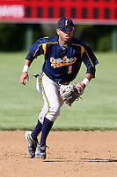 """May 10,2010:  Shortstop Chris """"Cito"""" Culver (1) of the Irondequoit Eagles takes infield before a game vs. the Canandaigua Braves during a Monroe County regular season game at Evans Field in Canandaigua, NY.  The game was called with a 19-19 score after 7 innings because of darkness.  Photo by Mike Janes/Four Seam Images"""