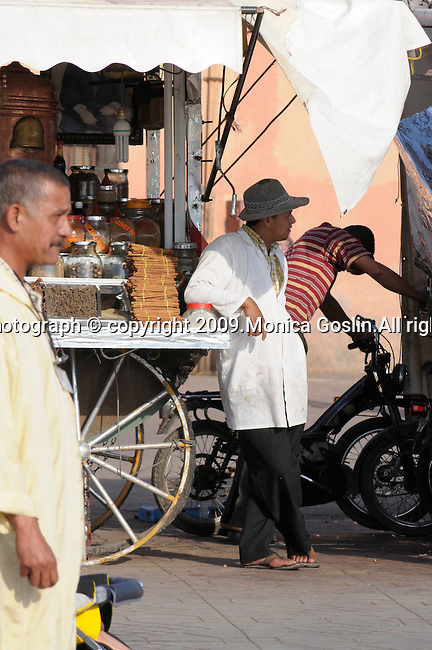 The market streets of Marrakesh, Morocco..