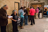 Far left: Raymond Weston and his wife Andrena (BOTH CQ) wait in line to see the Ethan Iverson Trio with Ravi Coltrane perform for Thelonious Monk's 100th birthday during the Monk @ 100 festival at the Durham Fruit and Produce Company in Durham, NC Thursday, October 26, 2017. (Justin Cook for The New York Times)