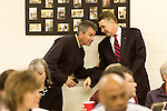 April 6, 2014. Durham, North Carolina.<br />   Greg Brannon, left, and Mark Harris are two of eight Republican candidates running for Democrat Kay Hagan's Senate seat.<br /> As the the primary scheduled for May 6th grows near, several of the the eight Republican candidates running for the US Senate seat of incumbent Democrat Kay Hagan have increased their public visibility, appearing at events such as the Durham County Lincoln Douglas Lunch, where each candidate was given a few minutes to address the gathered Republican friendly crowd.