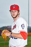 Spokane Indians pitcher Justin Slaten (48) poses for a photo before a Northwest League game against the Hillsboro Hops at Avista Stadium on August 23, 2019 in Spokane, Washington. Hillsboro defeated Spokane 8-2. (Zachary Lucy/Four Seam Images)