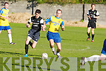 Dingle Bay Rovers James Coffey and Classic FC's Timmy Lynch Challenge for the ball in the FAI junior cup at Mounthawk park, Tralee on Sunday.