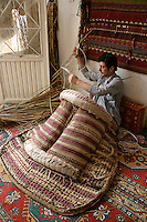 Maker of traditional saddles (palan) in Gerger, Adiyaman province, southeastern Turkey