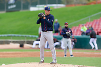 Cedar Rapids Kernels starting pitcher Josh Winder (47) during a Midwest League game against the Kane County Cougars at Northwestern Medicine Field on April 28, 2019 in Geneva, Illinois. Cedar Rapids defeated Kane County 3-2 in game two of a doubleheader. (Zachary Lucy/Four Seam Images)