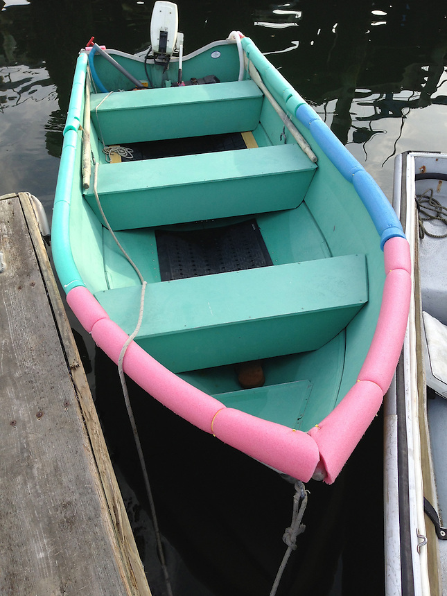 Pink and Green Skiff, Castine, Maine, US