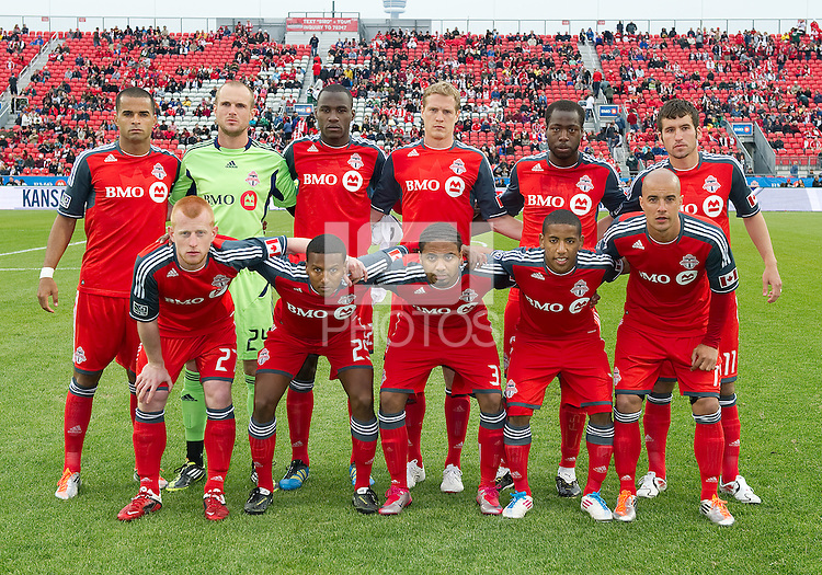 Toronto FC starting eleven during an MLS game between Sporting Kansas City and the Toronto FC at BMO Field in Toronto on June 4, 2011..The game ended in a 0-0 draw...