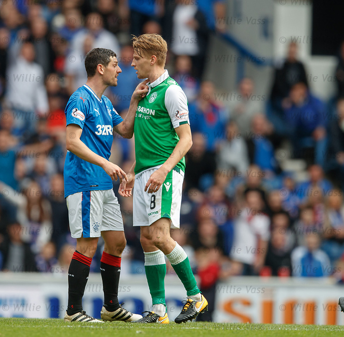 Graham Dorrans reacts to Vykintas Slivka after a late tackle which leads to a large scale shoving match and ref John Beaton sending off Ryan Jack
