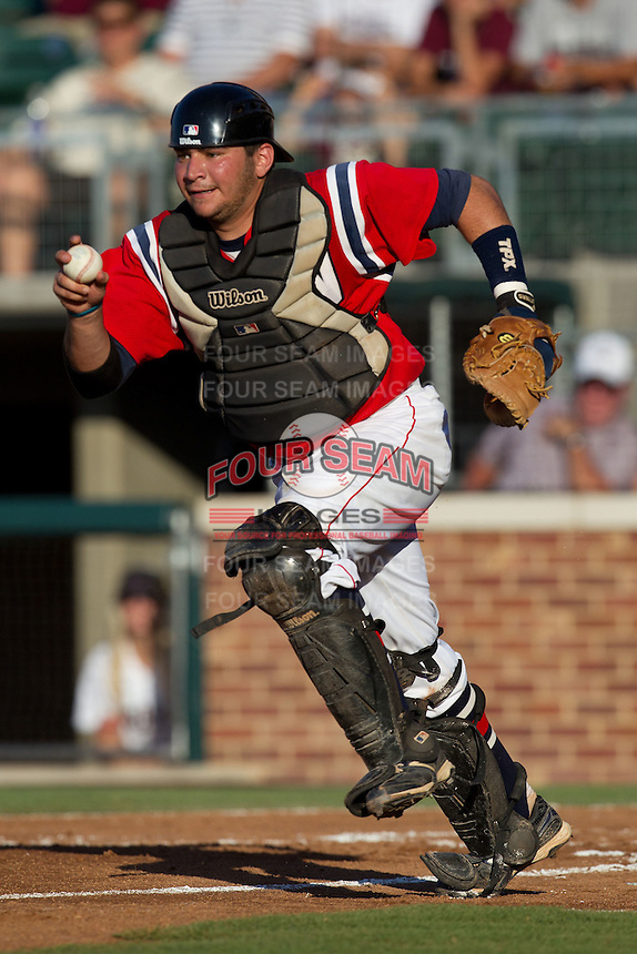 Catcher Kuirs Duggan #29 of the Dayton Flyers runs towards third base during the NCAA Tournament Regional baseball game against the Texas A&M Aggies on June 1, 2012 at Blue Bell Park in College Station, Texas. Texas A&M defeated Dayton 4-1. (Andrew Woolley/Four Seam Images).