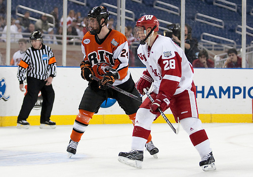 08 April 2010: Wisconsin Forward Jordy Murray (#28) and RIT Defenseman Chris Haltigin (#24) in game action between the Wisconsin Badgers and the Rochester Institute of Technology (RIT) Tiger at Ford Field in Detroit, Michigan.  Wisconsin defeated RIT 8-1. Mandatory Credit: John Mersits / Southcreek Global