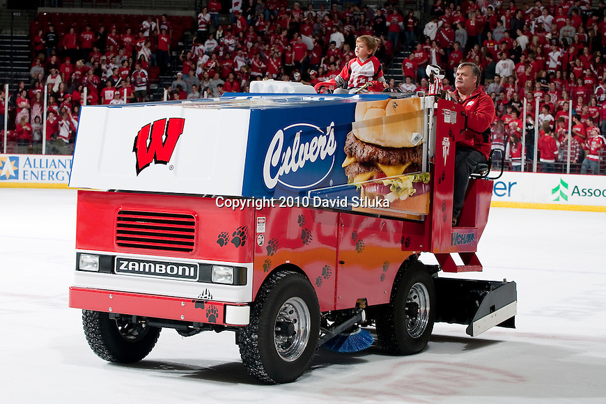 Wisconsin Badgers Zamboni driver resurfaces the ice during an NCAA hockey game against the Alabama Huntsville Chargers at the Kohl Center in Madison, Wisconsin on October 15, 2010. The Badgers won 7-0. (Photo by David Stluka)
