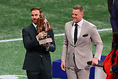 3rd February 2019, Atlanta Georgia, USA; NFL Superbowl LIII, New England Patriots versus Los Angeles Rams;  Chris Long receives his 2018 Walter Payton Man of the Year Award from last years winner JJ Watt prior to Super Bowl LIII