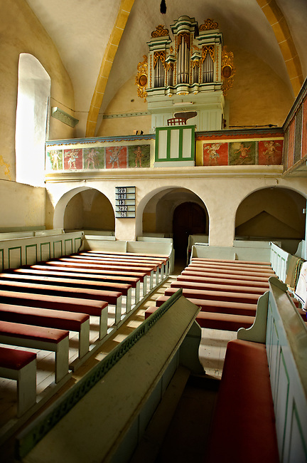 The Gothic interior of the 14th Century Saxon  Axente Sever Fortified Church, Transylvania.