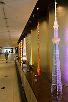 "An Edokiriko ""Super Craft Tree"" objet on display Tokyo Sky Tree, Tokyo, Japan, January 15, 2015. Edokiriko is a style of cut glass that dates back to 1834 and is similar to British cut glass. It makes use coloured glass and highly-intricate Japanese motifs."