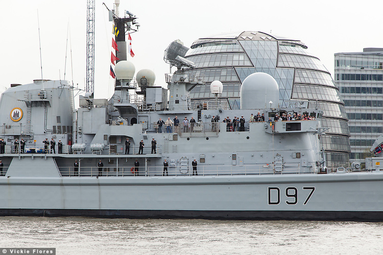 HMS Edinburgh arrives in London and passes City Hall on 7 May 2013 for the start of her farewell tour of Great Britain. HMS Edinburgh is a Type 42 (Batch 3) destroyer of the Royal Navy was decommissioned on 6 June 2013.