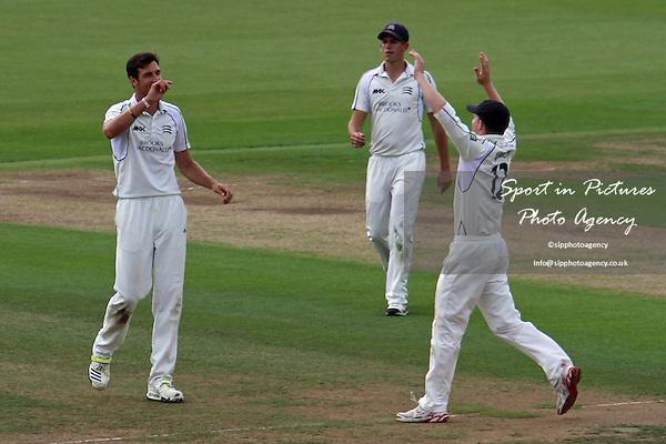 Steven Finn celebrates the wicket of Paul Collingwood Middlesex CCC v Durham CCC. Liverpool Victoria County Championship Division One. Lords Cricket Ground. London. Middlesex. 02/08/2013. MANDATORY Credit Robert Smith/SIPPA - NO UNAUTHORISED USE - 07837 394578