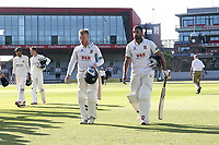 Adam Wheater and Ravi Bopara of Essex leave the field having clinched victory during Lancashire CCC vs Essex CCC, Specsavers County Championship Division 1 Cricket at Emirates Old Trafford on 11th June 2018