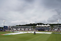 The covers show no signs of being removed as a further pitch inspection announced for 15.45 during South Africa vs West Indies, ICC World Cup Cricket at the Hampshire Bowl on 10th June 2019