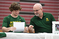 NWA Democrat-Gazette/J.T. WAMPLER Springdale's Brock Pounders signs a letter of intent to play football for Missouri Southern Wednesday Feb. 6, 2019.