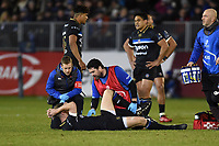 Rhys Priestland of Bath Rugby is treated for a hamstring injury. European Rugby Champions Cup match, between Bath Rugby and the Scarlets on January 12, 2018 at the Recreation Ground in Bath, England. Photo by: Patrick Khachfe / Onside Images
