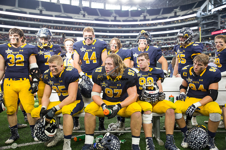 Defensive player of the game Highland Park Scots defensive lineman Turner Coxe (97) on the sidelines during the fourth quarter of the UIL Class 5A-Division I state football championship game between Highland Park and Temple at AT&T Stadium in Arlington, Texas, on December 17, 2016. Highland Park won 16-7.