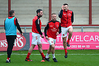 Fleetwood Town's Paddy Madden warms up with this team-mates<br /> <br /> Photographer Richard Martin-Roberts/CameraSport<br /> <br /> The EFL Sky Bet League One - Fleetwood Town v Doncaster Rovers - Wednesday 26th December 2018 - Highbury Stadium - Fleetwood<br /> <br /> World Copyright © 2018 CameraSport. All rights reserved. 43 Linden Ave. Countesthorpe. Leicester. England. LE8 5PG - Tel: +44 (0) 116 277 4147 - admin@camerasport.com - www.camerasport.com
