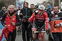 Last years winner Jasper stuyven (BEL/Trek-Segafredo) is escorted towards the podium after finishing 2nd in this edition<br /> <br /> 69th Kuurne-Brussel-Kuurne 2017 (1.HC)