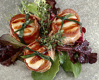 Scallops Wrapped in Bacon on Spring Lettuce