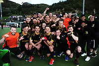The Capital team celebrates winning the men's National Hockey League final between Harbour and Capital at National Hockey Stadium in Wellington, New Zealand on Sunday, 23 September 2018. Photo: Dave Lintott / lintottphoto.co.nz
