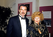 Actor Tom Selleck and his mother, Mrs. Robert D. Selleck, Sr (Martha) arrive at the White House for the Official Dinner honoring Prime Minister Margaret Thatcher of Great Britain in Washington, DC on November 16, 1988.<br /> Credit: Ron Sachs / CNP
