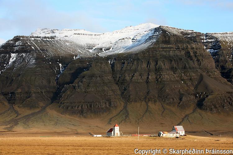 Farm Kolbeinsstaðir on the border of Snæfellsnes peninsula, west Iceland.