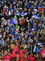 Bath supporters in the crowd celebrate a try. LV= Cup match, between Bath Rugby and London Welsh on November 1, 2014 at the Recreation Ground in Bath, England. Photo by: Patrick Khachfe / Onside Images