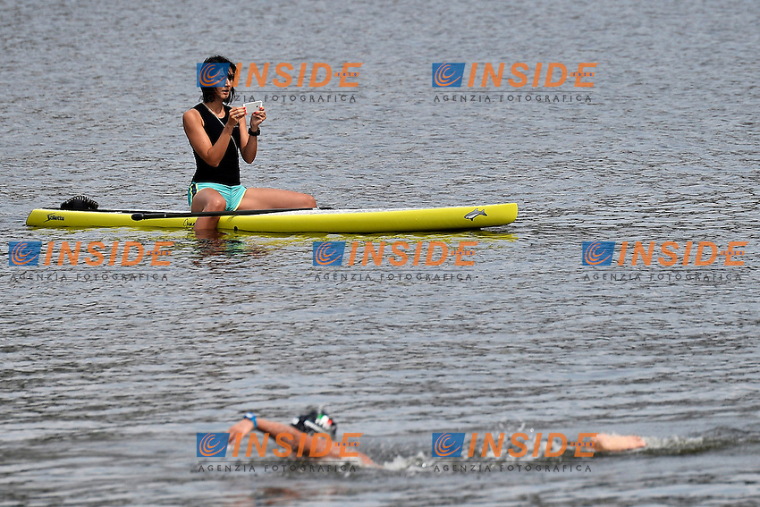 A girl on a canoa takes pictures of the race <br /> Open Water 25Km <br /> 32nd LEN European Championships  <br /> Berlin, Germany 2014  Aug.13 th - Aug. 24 th<br /> Day05 - Aug. 17<br /> Photo Andrea Staccioli/Deepbluemedia/Insidefoto