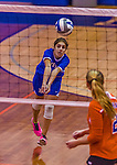 2 November 2014: Yeshiva University Maccabee Defensive Specialist Carol Jacobson, a Senior from Seattle, WA, in action against the Purchase College Panthers at SUNY Purchase College, in Purchase, NY. The Maccabees defeated the Panthers 3-1 in the NCAA Division III Women's Volleyball Skyline matchup. Jacobson ended her 2014 season with 69 Digs and 12 Aces for the Lady Macs. Mandatory Credit: Ed Wolfstein Photo *** RAW (NEF) Image File Available ***