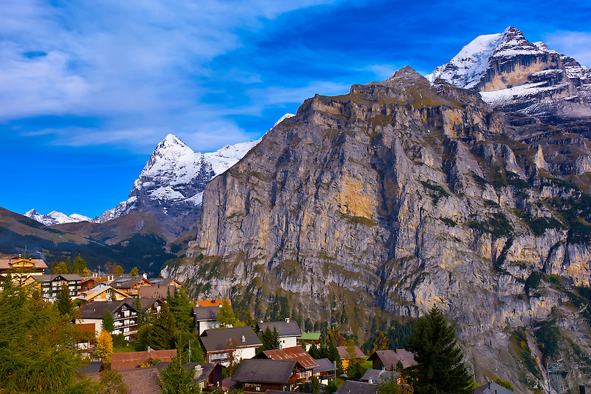 Murren, in the Swiss Alps, with the Eiger and Monch behind, Canton Bern, Switzerland