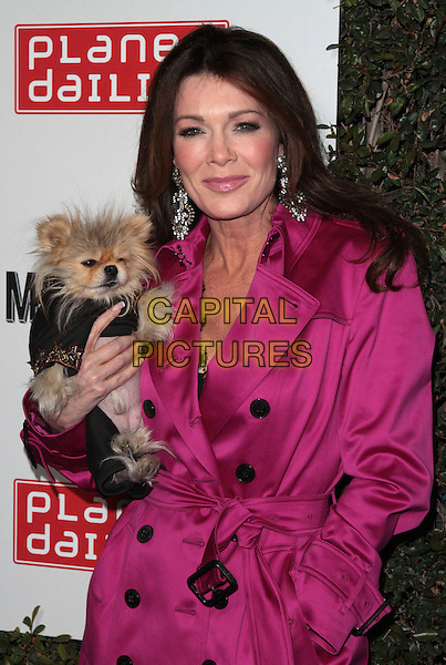 Lisa Vanderpump.The Grand Opening of Planet Dailies and Mixology 101 held at the Grove at the Farmers Market, Los Angeles, California, USA..5th April 2012.half length pink black mac hand in pocket dog animal pet.CAP/ADM/SP/JO.©James Orken/Starlitepics/AdMedia/Capital Pictures.